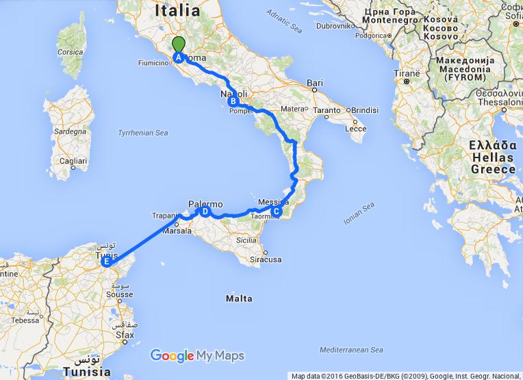 dall'Italia alla Tunisia itinerario