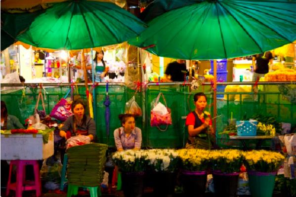 mercato fiori pat khlong talat, bangkok