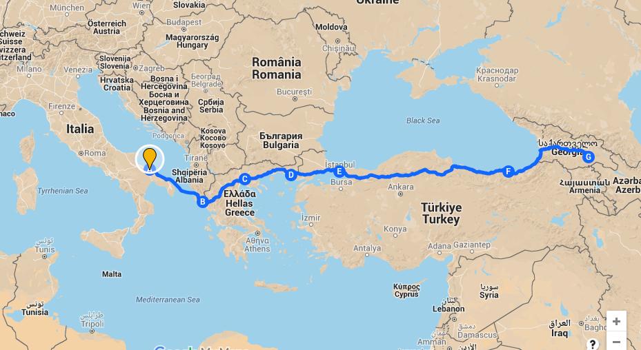 Dall'Italia alla Georgia itinerario