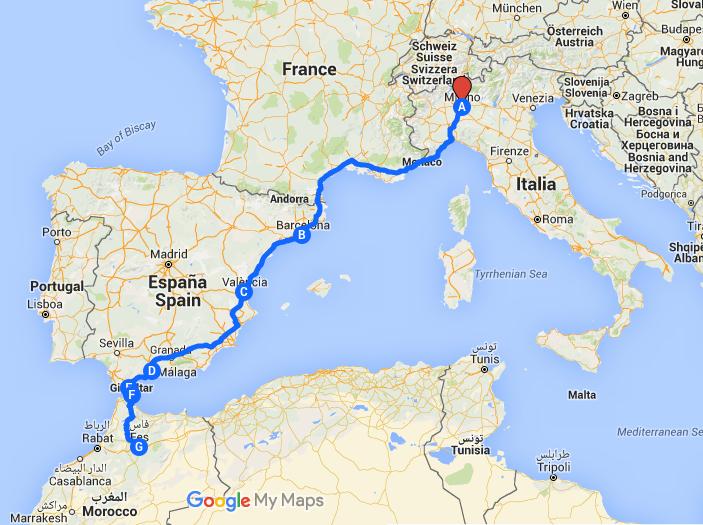 dall'Italia al Marocco itinerario